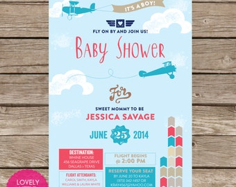 Printable Airplane themed Baby Shower Invitation- Lovely Little Party