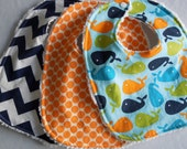 Baby Boy Bibs - Set of 3 - Whales, Tangerine Dots, and Navy Chevron