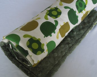 Turtle Baby Blanket - Urban Zoologie Turtles with Minky backing - Neutral Baby Blanket