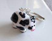 Polymer Clay Chubby Cow Keychain