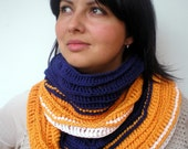 Color Block  Infinity Scarf  Soft  Merino wool Scarf Crocheted Woman Fashion Circle Scarf NEW