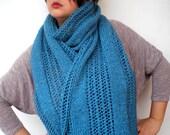 Ocean Blue Lace Wrap Scarf Hand Knit  TweedStole Woman Trendy Shoulder Wrap >Scarf NEW