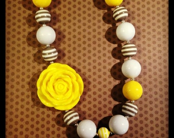 Yellow and Gray Inspired Chunky Bead Necklace...Necklaces...Childrens Jewelry...Chunky Beads...Jewelry...Girls Necklaces