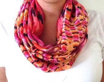 Pink and Orange Print Infinity Scarf