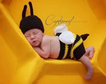 Newborn Bumble Bee Photo Prop/ Yellow and Black Romper and Hat Baby Boy Baby Girl