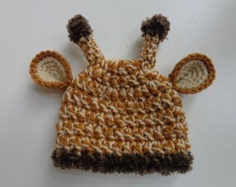 Newborn Crochet Giraffe Hat Baby Boy Baby Girl Photo Prop