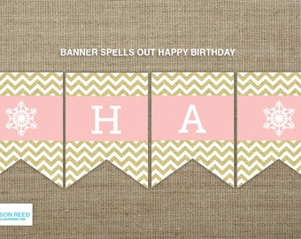 Onderland Printable - Winter Onderland Birthday banner - Snowflake printable - First birthday - Chevron Glitter - party decorations