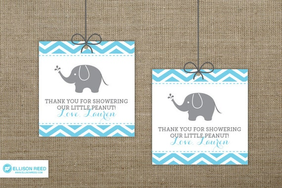 Chevron elephant baby shower favor tags elephant printable for Printable baby shower favor tags