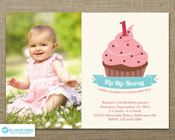 Cupcake Invitation - First Birthday Invitation - Cupcake birthday ...