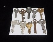 Vintage Old Keys Lot 10, Steampunk Supply, Industrial, Flat Keys, Skeleton Keys