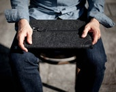 "MacBook Pro 15"" Retina Sleeve/ Case/ Cover - Vegetable Tanned Italian Leather and Merino Wool Felt, Smokey Grey / Black"