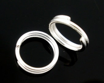 100pcs 10mm Silver Plated Split Ring - 21 gauge, Jewelry Finding, Jewelry Making Supplies, DIY, Bracelet Finding, Ships from USA  - JR51
