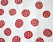 Seedpods in Perfect Red : organic cotton handprinted fabric panel