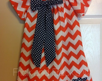 Orange Chevron  Peasant Dress with navy Bow