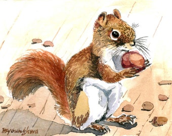 ACEO Limited Edition 4/25- Autumn squirrel