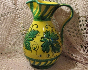 Vintage Handmade Italian Jug/Pitcher, Green and Yellow Vine
