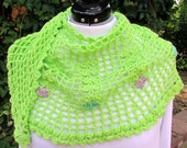 Flowered Crescent Shawl Scarf crochet lime green lace wrap handmade shawlette