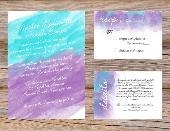 Wedding Invitations Turquoise: Watercolor Wedding Invitation Suite Purple Violet & Turquoise