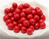 Red druk beads. Round Glass Beads 8mm Czech Opaque Bright (20pc) last