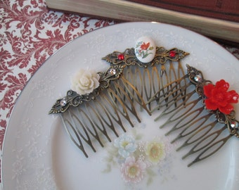 Victorian Vintage Inspired Hair Comb Set, Hair Accessories, Red & Ivory Flowers, Glass Cameo Swarovski Crystals, Antiqued Bronze Filigree