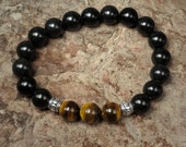 Tiger Eye and Obsidian Stretch Bracelet - Good Luck Protection Positive Changes - Reiki Jewelry