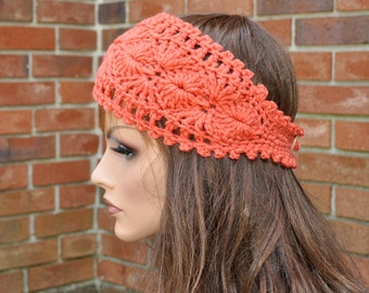Crochet Ear Warmer, Womens Crochet Headband in Coral, Fall and Winter head accessory, Style 1