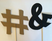 2 photo props on a stick, Wedding photo props, photo booth props,  hash tag/ampersand sign, and sign/pound sign