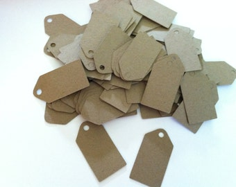 100  Mini Kraft tags,merchandise tags, jewelry tags, product tags  1.25 inches