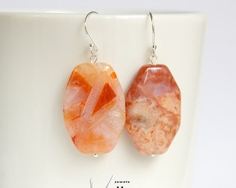 Sterling silver earrings with rare opal gemstones, orange, white, brown, mexican fire opal octagonal shaped stones