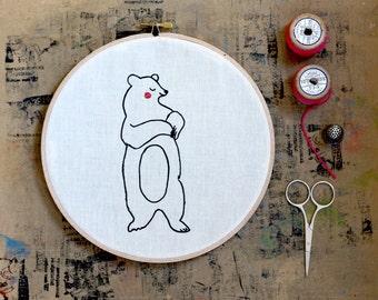 Bear Hoop Art, Embroidery hoop art. Screen Printed Bear, Nursery, Bear Illustration, Hand printed, Screenprinted, Handmade, wall hanging