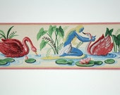 Full Vintage Wallpaper Border - TRIMZ - Pink Swans and Water Nymphs, Water Fairy and Water Lilies, Pink and Blue Magical Pond Scene - 4 inch