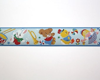 Full Vintage Wallpaper Border- TRIMZ - Children's Wallpaper - Toys, Teddy Bears, Drums, Dolls, Blue and Yellow