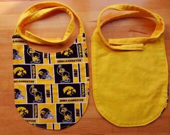 Iowa Hawkeyes Baby Bib with Tie Closure
