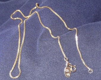 14K Gold Filled Box Chain, Everyday, Long, Layering Chain;  16, 18, 20 or 24-Inch Length