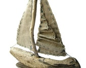 Driftwood Sailboat with Folded Sail