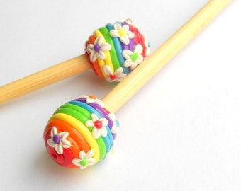 Rainbow Delight Knitting Needles- polymer
