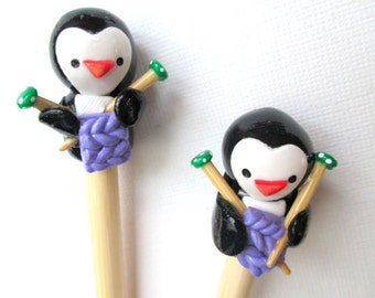 Knitting Penguins Knitting Needles-- HANDMADE Polymer on premium Bamboo