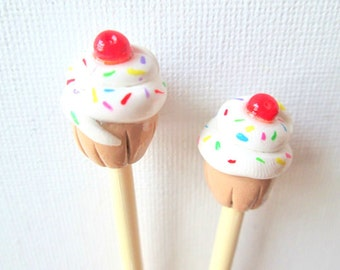 Yummy Cupcake Knitting Needles-- Handmade Polymer on premium bamboo-- Size 7
