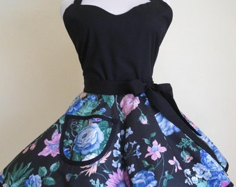Sweetheart Retro Apron Black and Blue Roses Circular Flirty Skirt