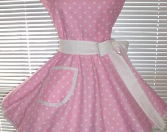 Retro Apron Pink and White Polka Dots Circular Skirt