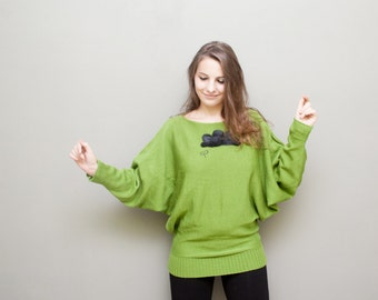 Rainy Traffic Green Sweater / Oversized Women Sweater / Knitwear / Maternity / europeanstreetteam / Yellow Batwing Sweater / Tunic /Top