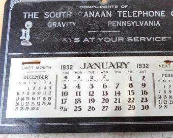 Office Supplies, 1932 Advertising Calendar, Telephone Company, Rare, Unused, Original Envelope, Industrial, Props, All vintage Man