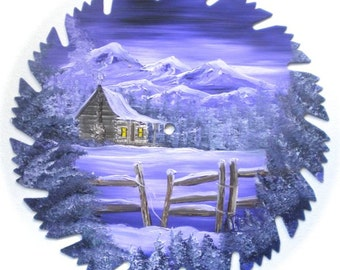 Hand Painted Saw Blade Mountain Lavender Cabin and Fence