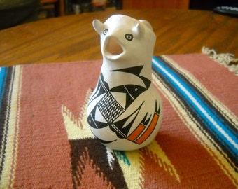 Pottery, Acoma, Native American, Vintage, Cow, Pitcher, Handpainted, White, Black, Orange, Rustic, Tribal, Southwest, Figurine