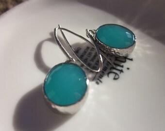 Ocean Blue Silver Glass stone earrings, Simple, Boho-chic, Bridesmaid earrings