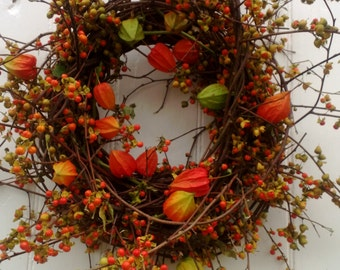 Harvest Wreath - Bittersweet Wreath with Orange Japanese Lanterns