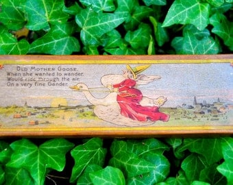 Late 1800s early 1900s Darling Antique Wooden Childs Nursery Rhyme Mother Goose Pencil Box