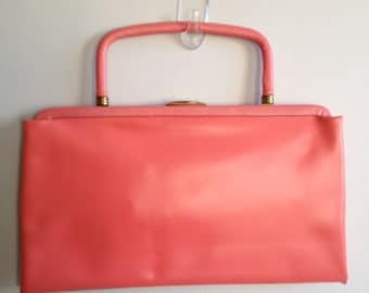 Hot Pink Vinyl Leather Like Clutch with Dual Handle