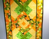Quilted Table Runner-Lemon, Lime, Orange Citrus Print with Yellow Reverse