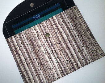 iPad Case-Birch Trees with Solid Black Interior, iPad Sleeve, Clutch